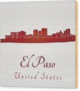 El Paso Skyline In Red Wood Print