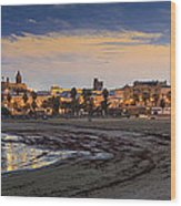 El Rompidillo Beach Panorama Cadiz Spain Wood Print