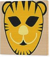 El Tigre Luchador Orange Black Beige Wood Print