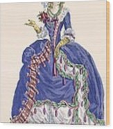 Elaborate Court Dress In Electric Blue Wood Print