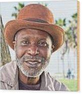 Elderly Black Man Smiling Wood Print