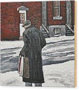 Elderly Gentleman  In Pointe St. Charles Wood Print