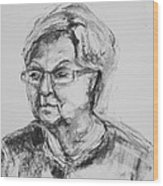 Elderly Lady With Glasses Wood Print