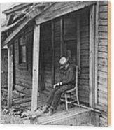 Elderly Man Doses On His Porch Wood Print