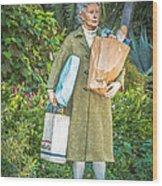 Elderly Shopper Statue Key West - Hdr Style Wood Print