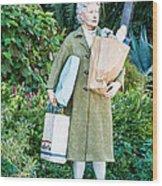 Elderly Shopper Statue Key West Wood Print