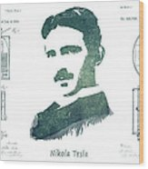 Electric Arc Lamp Patent Art Nikola Tesla Wood Print