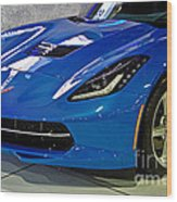 Electric Blue Corvette Wood Print