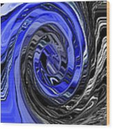 Electric Blue Wound Into Black And White Abstract Wood Print