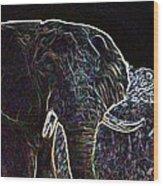 Electric Elephant Wood Print