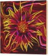 Electric Firewheel Flower Artwork Wood Print