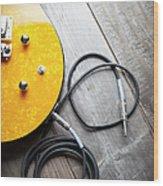 Electric Guitar Heart Wood Print
