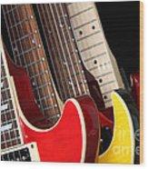 Electric Guitars Closeup Wood Print