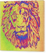Electric Lion Wood Print