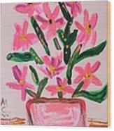 Electric Pink Flowers Wood Print