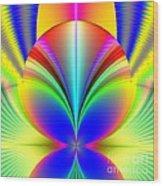 Electric Rainbow Orb Fractal Wood Print