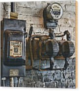 Electrical Energy Safety Switch Wood Print by Paul Ward