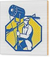 Electrical Lighting Technician Crew Spotlight Wood Print by Aloysius Patrimonio