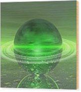 Electronic Green Saturn Wood Print