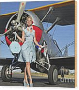Elegant 1940s Style Pin-up Girl Wood Print