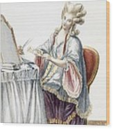 Elegant Lady At Her Dressing Table Wood Print by Pierre Thomas Le Clerc