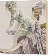 Elegant Lady Having Her Feet Washed Wood Print