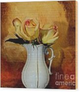 Elegant Triple Roses Wood Print by Marsha Heiken