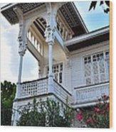Elegant White House And Balcony Wood Print