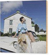 Elegant Woman And Borzoi Dog Wood Print
