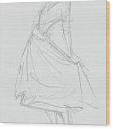 Elegant Woman In Dress Drawing Wood Print