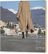 Elegant Woman Walking Wood Print