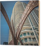 Element Of Duenos Do Los Estrellas Statue With Miami Downtown In Background - Square Crop Wood Print by Ian Monk