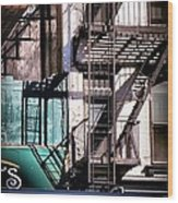 Elemental City - Fire Escape Graffiti Brownstone Wood Print