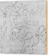 Elephant Acts, 1880s Wood Print