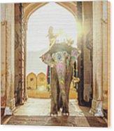 Elephant At Amber Palace Jaipur,india Wood Print