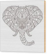 Elephant. Black And White Hand Drawn Wood Print