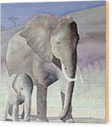 Elephant Family Wood Print