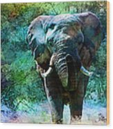 Elephant - Featured In Comfortable Art- Wildlife- And Nature Wildlife Groups Wood Print