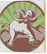 Elephant Giant Tusk Side Retro Circle Wood Print