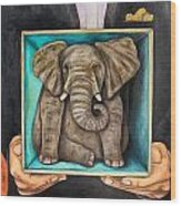 Elephant In A Box Edit 2 Wood Print