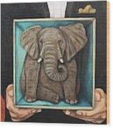 Elephant In A Box Wood Print