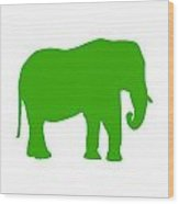 Elephant In Green And White Wood Print