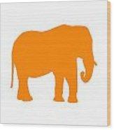 Elephant In Orange And White Wood Print