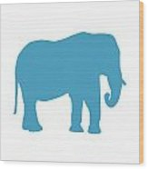 Elephant In White And Turquoise Wood Print