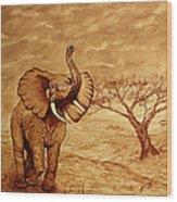 Elephant Majesty Original Coffee Painting Wood Print