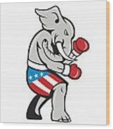 Elephant Mascot Boxer Boxing Side Cartoon Wood Print