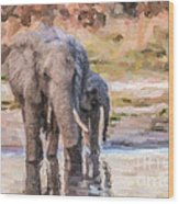 Elephant Mother And Calf Wood Print