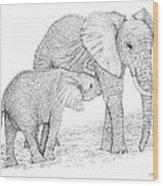 Elephant Mother Wood Print