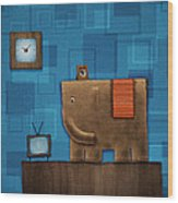 Elephant On The Wall Wood Print by Gianfranco Weiss