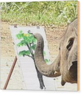 Elephant Charlie Paints The Tree Of Life Wood Print